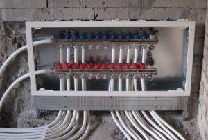 Коллекторный шкаф для системы отопления с теплым полом из полипропилена