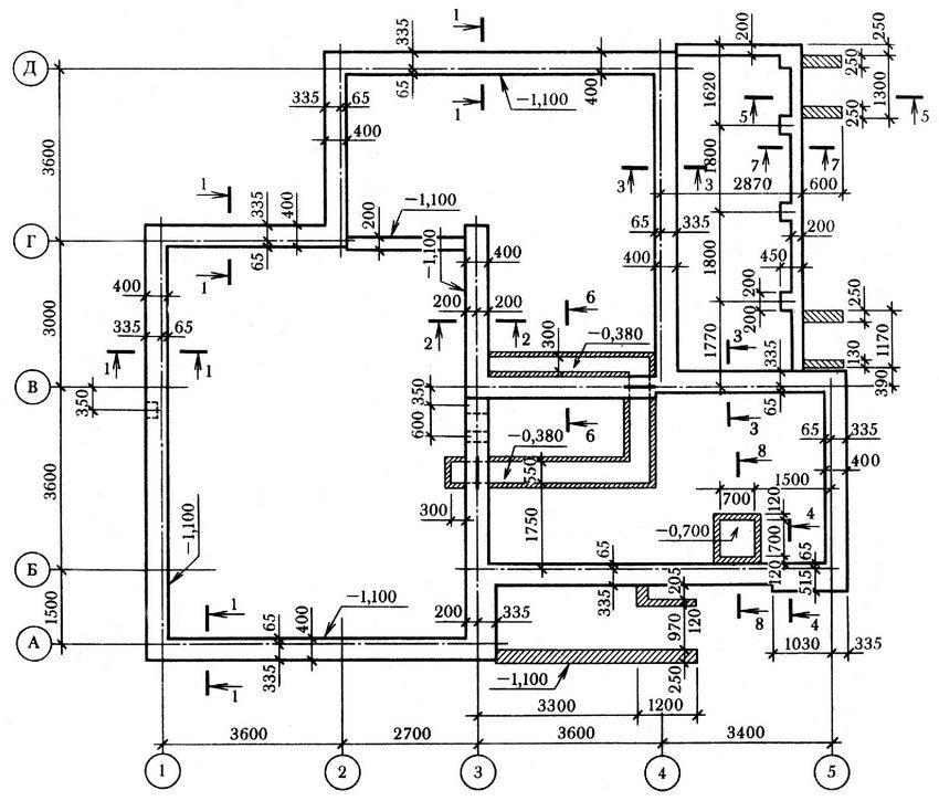 Пример чертежа фундамента в горизонтальном разрезе