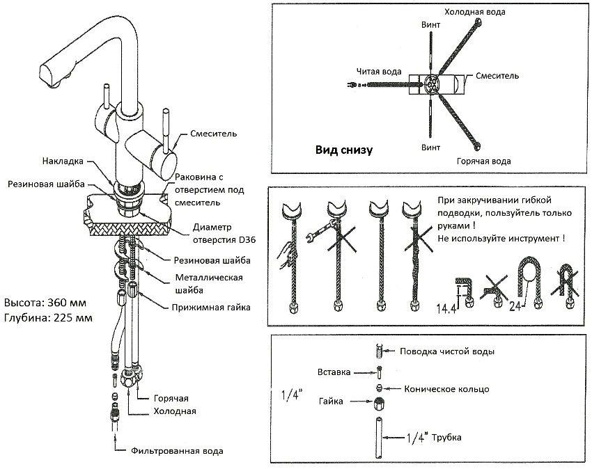 Схема установки кухонного смесителя с краном для питьевой воды