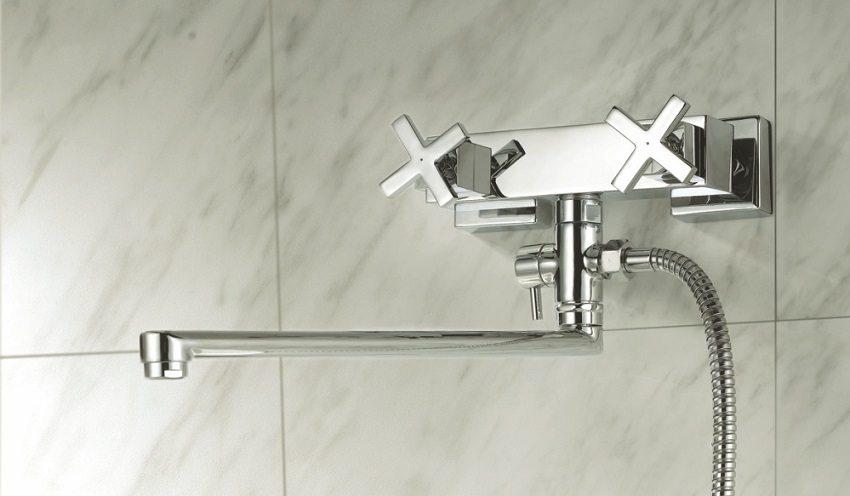 Двухвентильный смеситель для ванны с длинным изливом GRO Welle Dusсhes 722