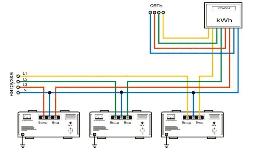 Схема подключения трехфазного стабилизатора напряжения к электросети
