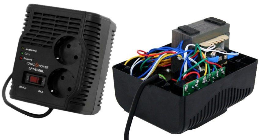 Внутреннее устройство релейного стабилизатора LogicPower мощностью 0,35 кВт