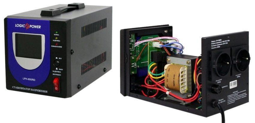 Внутреннее устройство релейного однофазного стабилизатора LogicPower LPH-800 RD