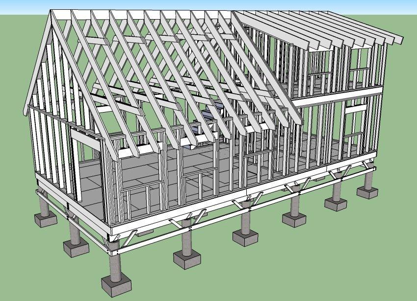 Проект каркасного дома на столбчатом фундаменте, созданный в трехмерной программе