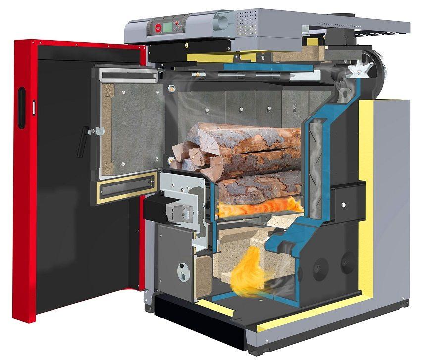 В пиролизных котлах используется повторная подача воздуха, продлевая длительность прогорания закладки топлива до 10-12 часов
