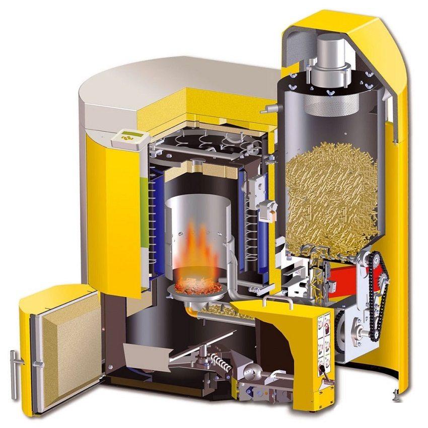 Пиролизный твердотопливный котел с автоматической загрузкой топлива