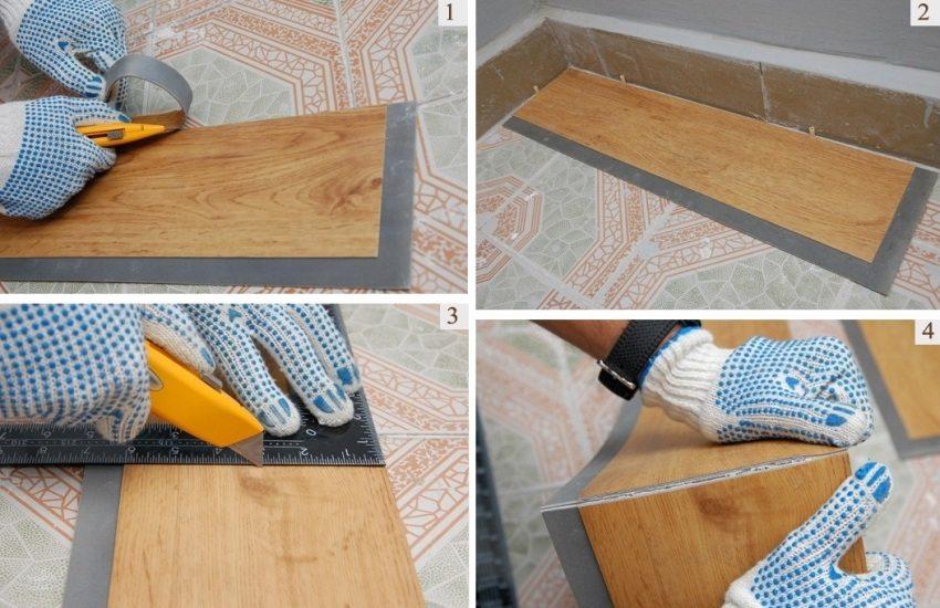 Шаг 1: обрезка замка с панелей, примыкающих к стене; шаг 2: укладка первой панели; шаги 3 и 4: обрезка и подгонка панелей по размеру