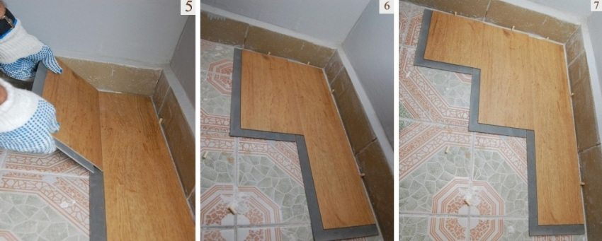 Шаги 5-7: укладка винилового ламината с замковым соединением
