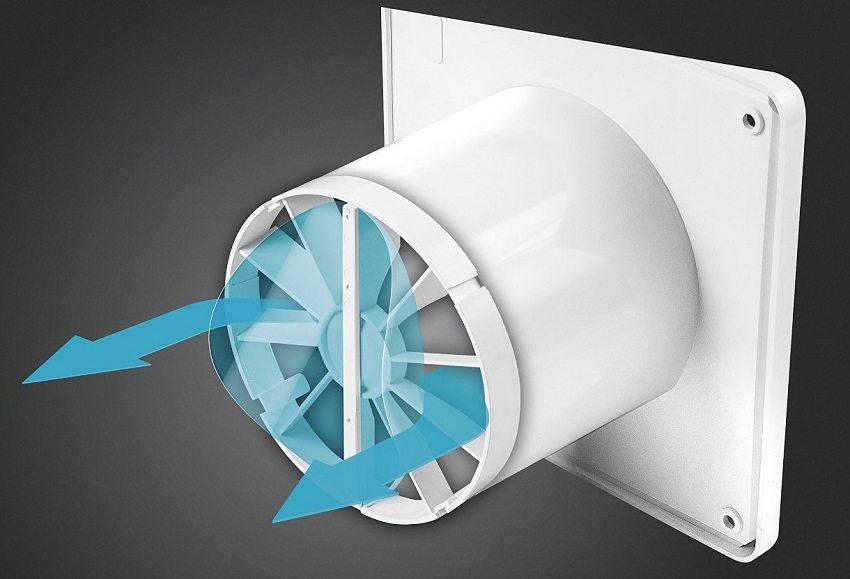 Вентилятор обеспечит принудительный отвод использованного воздуха из ванной комнаты