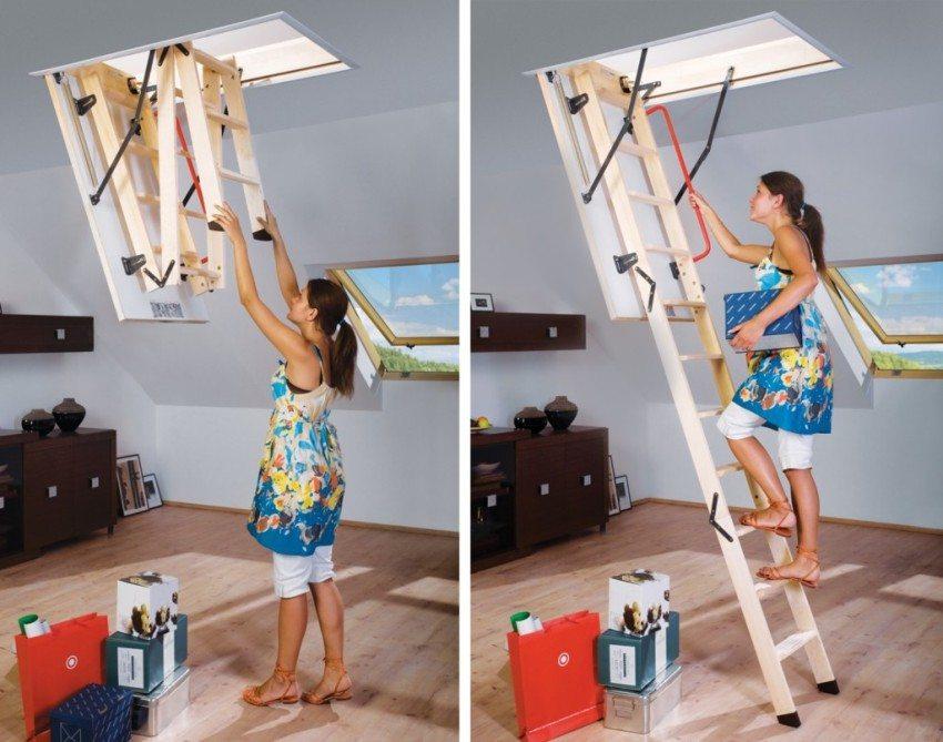 Складные чердачные лестницы очень просты в использовании