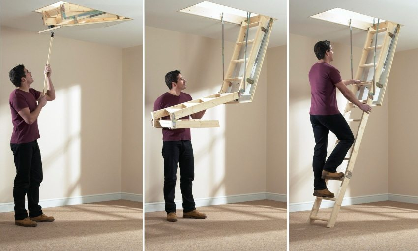 Принцип складывания/раскладывания мансардной лестницы