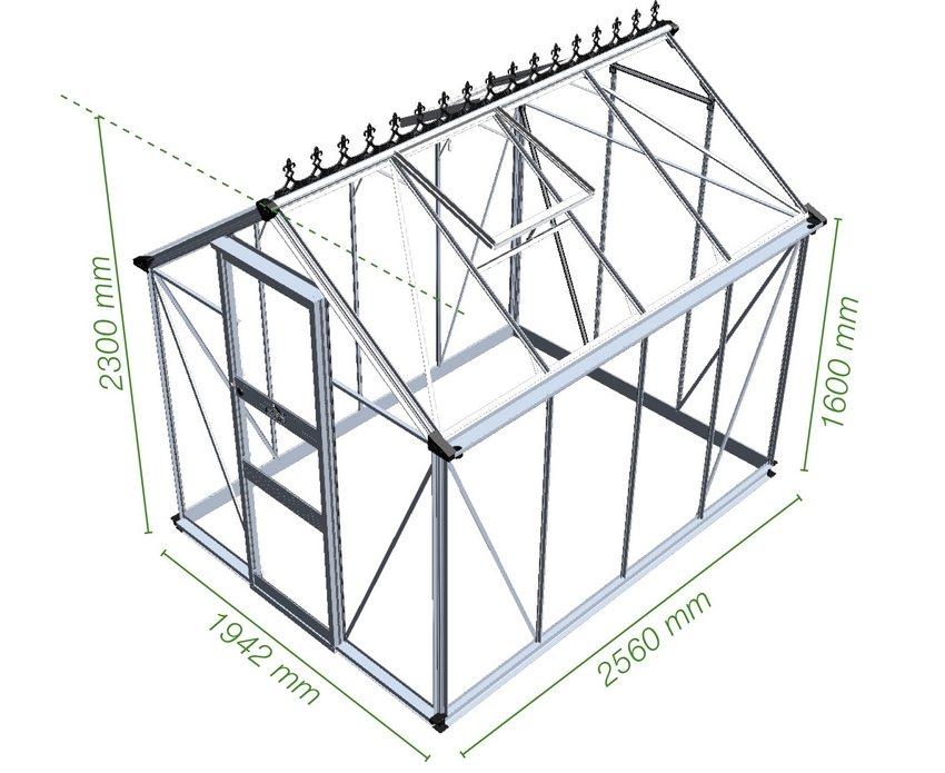 Проекты теплиц с двускатной крышей предусматривают изготовление каркаса из профильной трубы 40х20 мм