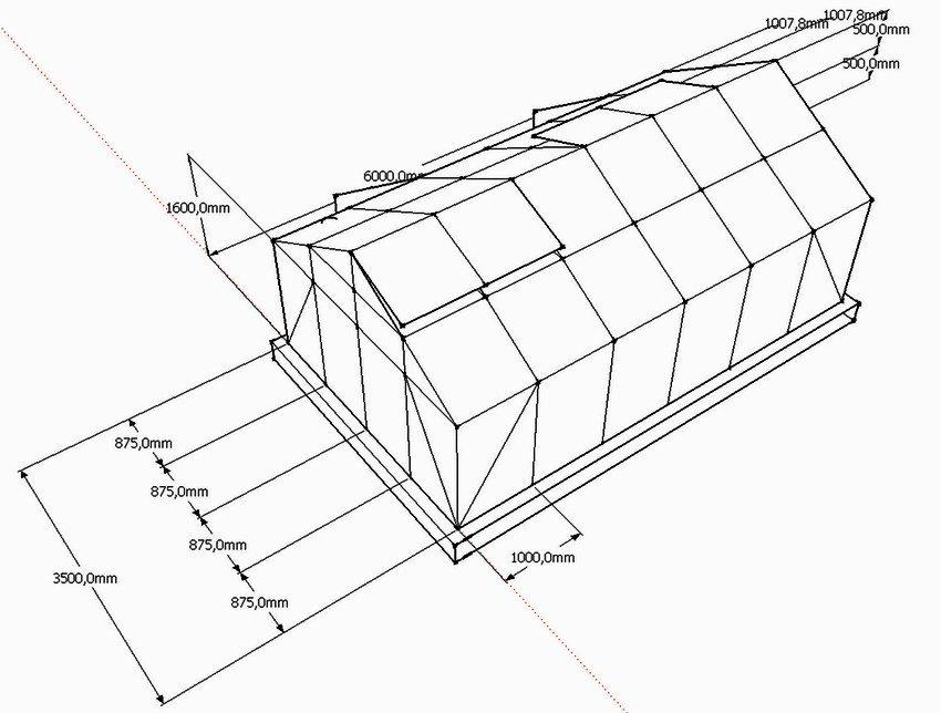 Пример чертежа теплицы с двускатной крышей