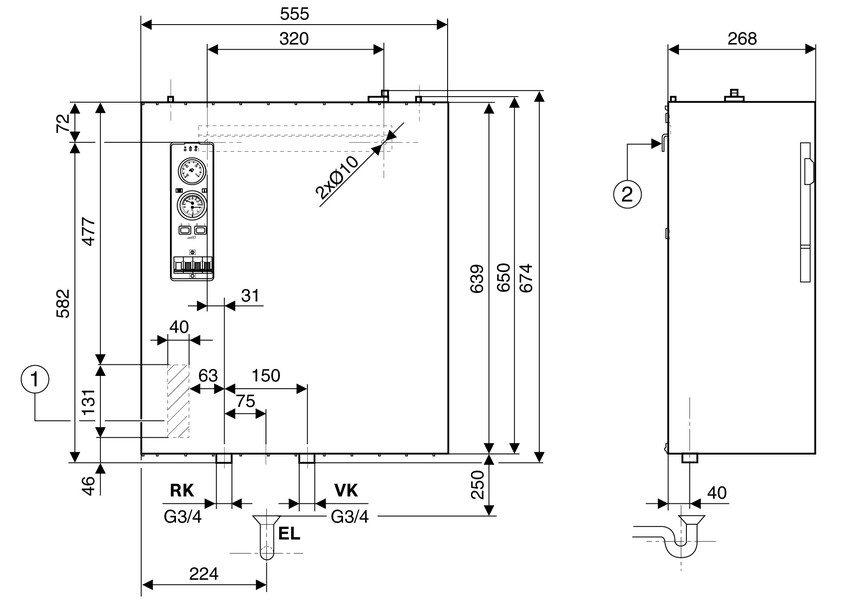 Монтажные размеры электрического котла Buderus Tronic 5000 Н