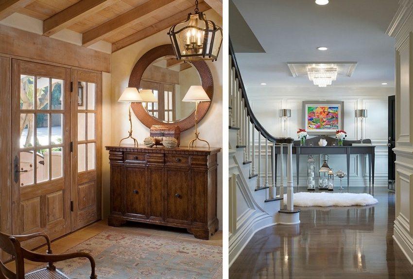 Различные виды отделки потолка в прихожей частного дома
