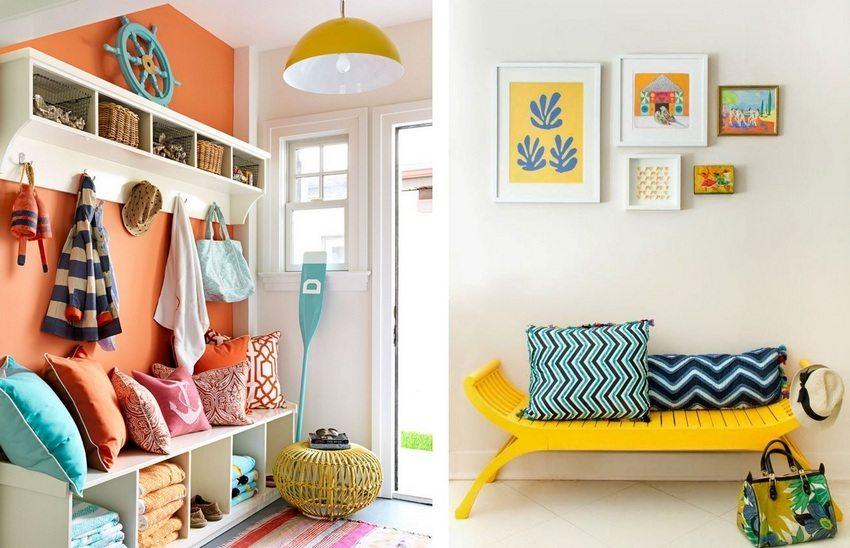 Использование ярких цветов в современном дизайне прихожей