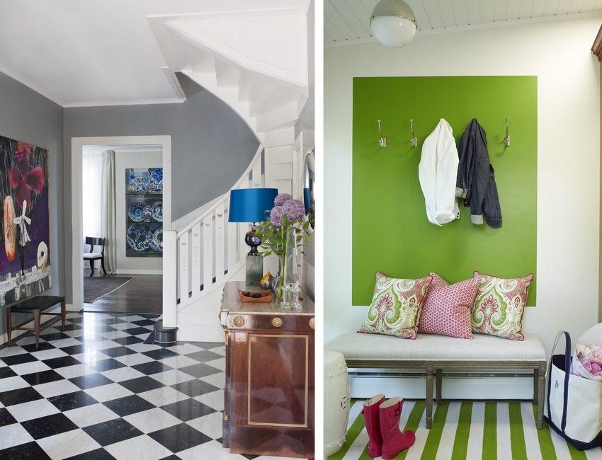 Использование контрастных цветов в современном интерьере прихожей