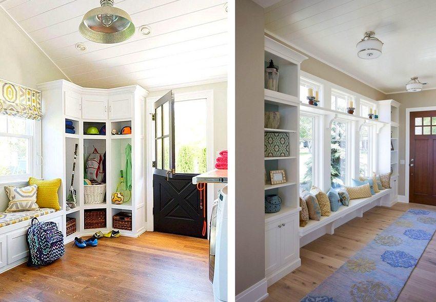 В интерьере прихожей использована мебель белого цвета, благодаря чему она меньше загромождает пространство