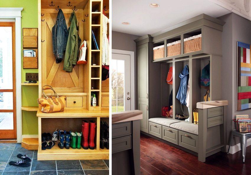 Системы хранения могут использоваться даже в дизайне маленькой прихожей в частном доме
