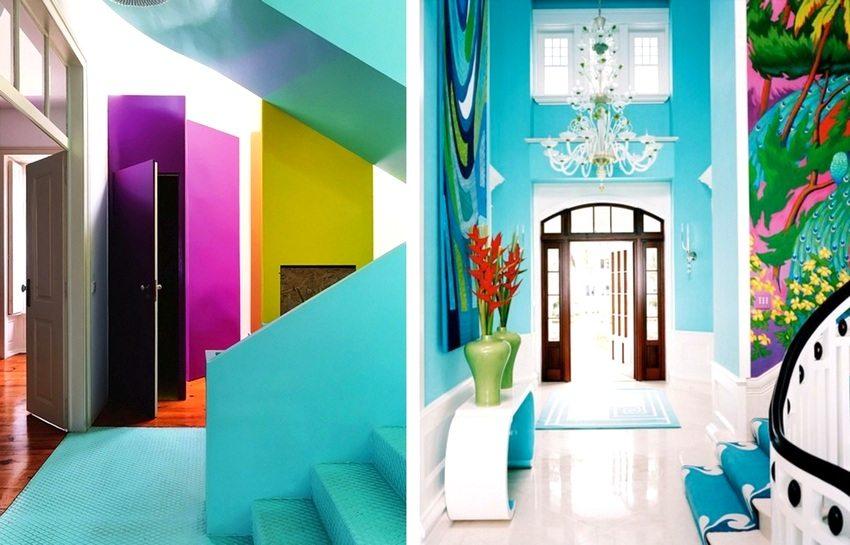 Яркие интерьеры прихожих, созданные с помощью окрашивания стен в контрастные цвета