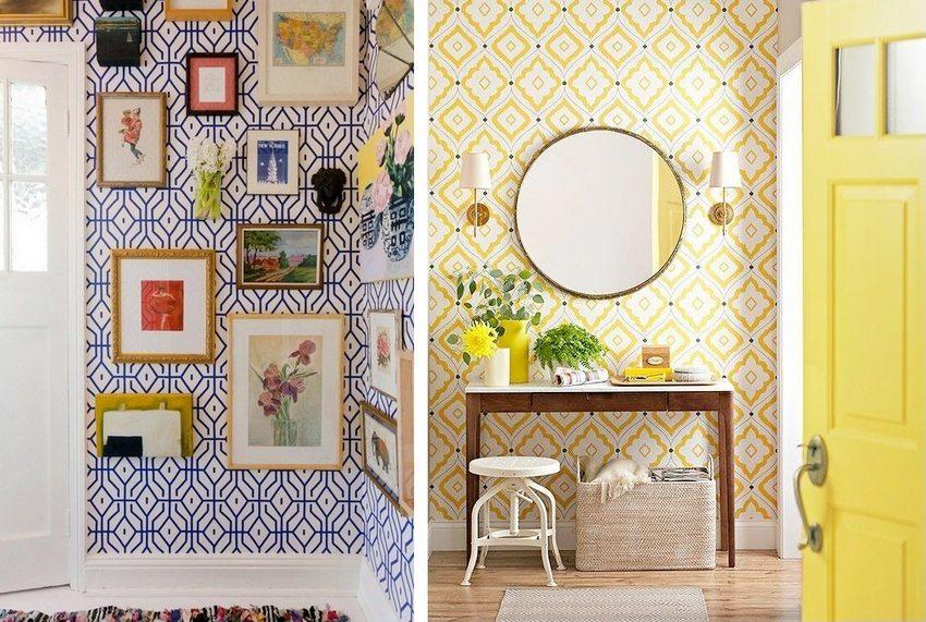 В дизайне прихожих использованы обои с оригинальным орнаментом насыщенных цветов