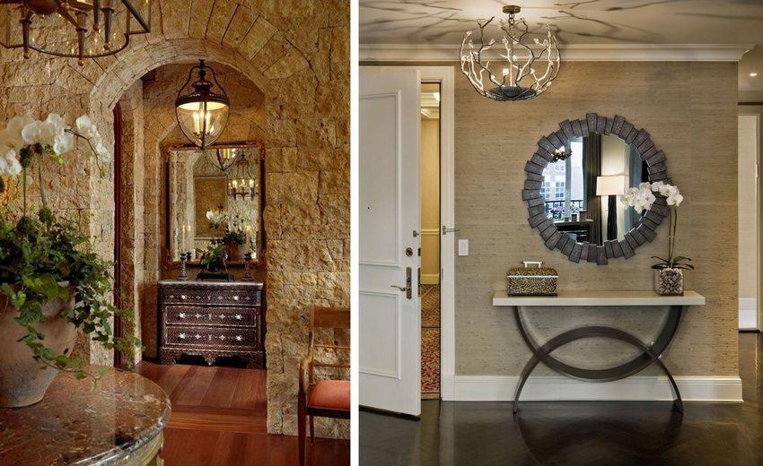 Украшением интерьера могут стать интересно оформленные зеркала и необычные светильники