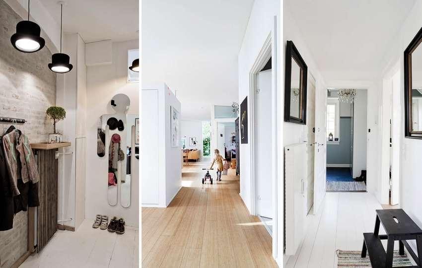 Для оформления длинного коридора отлично подойдут декоративная штукатурка и отделка искусственным камнем
