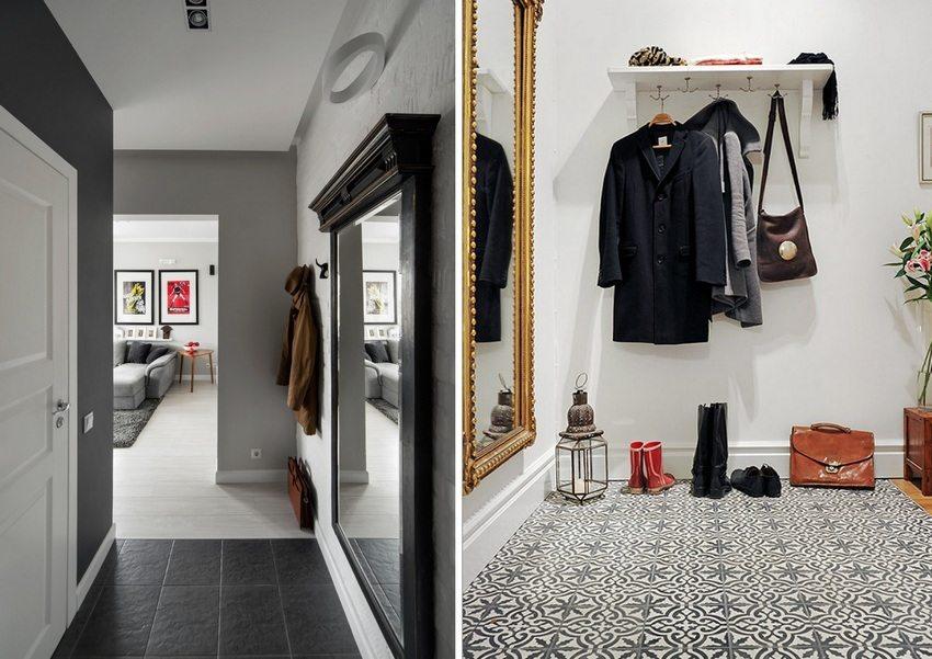 Укладка плитки с необычным рисунком или фактурой украсит интерьер небольшой прихожей