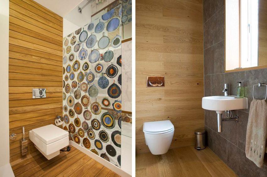 Материалы из дерева для оформления туалета необходимо обработать водоотталкивающими составами