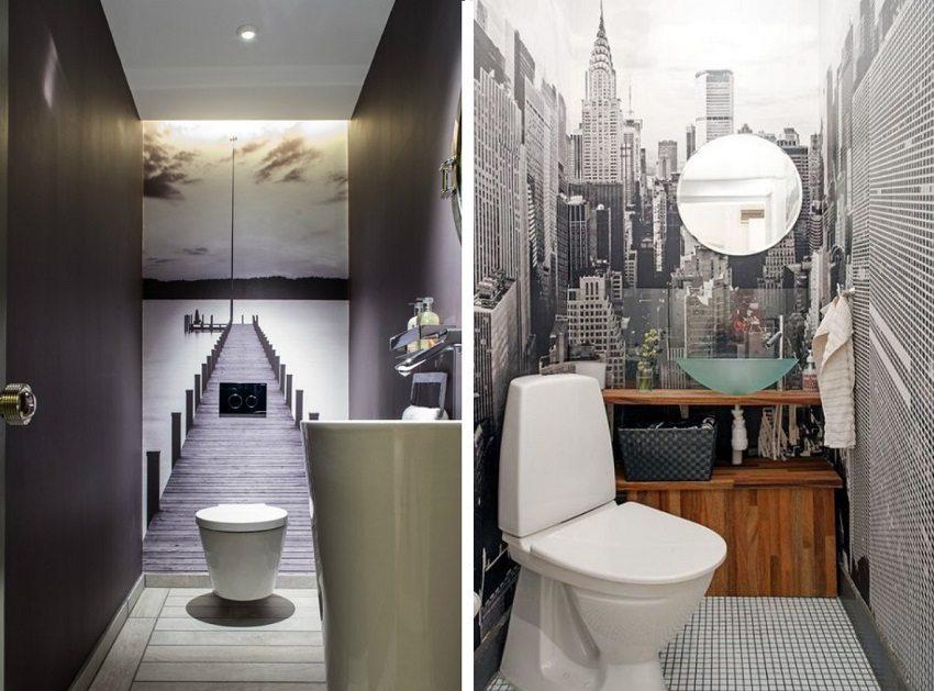 Изображения с перспективой расширяют пространство маленького туалета