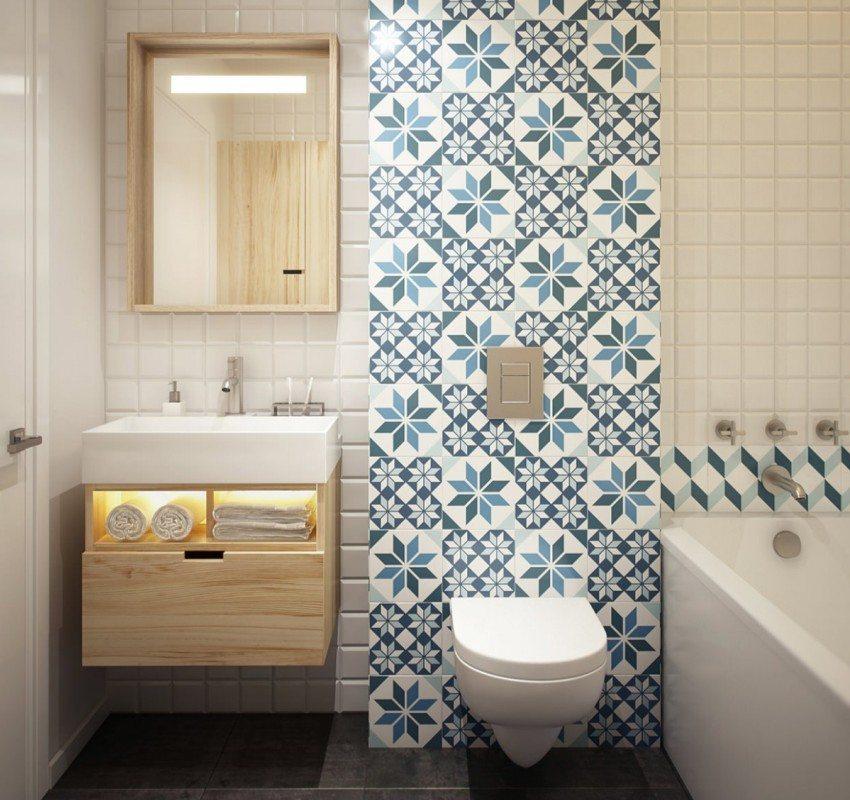 Совмещенный санузел можно разделить на условные зоны разным цветовым оформлением стен, объединенными в общий стиль