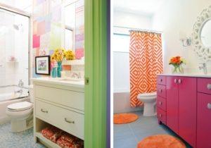 Стильное сочетание контрастных стен и мебели в оформлении ванной комнаты