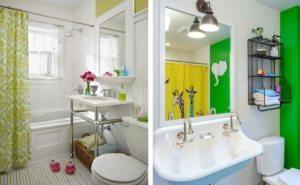 Примеры использования в интерьере ванной ярких цветов