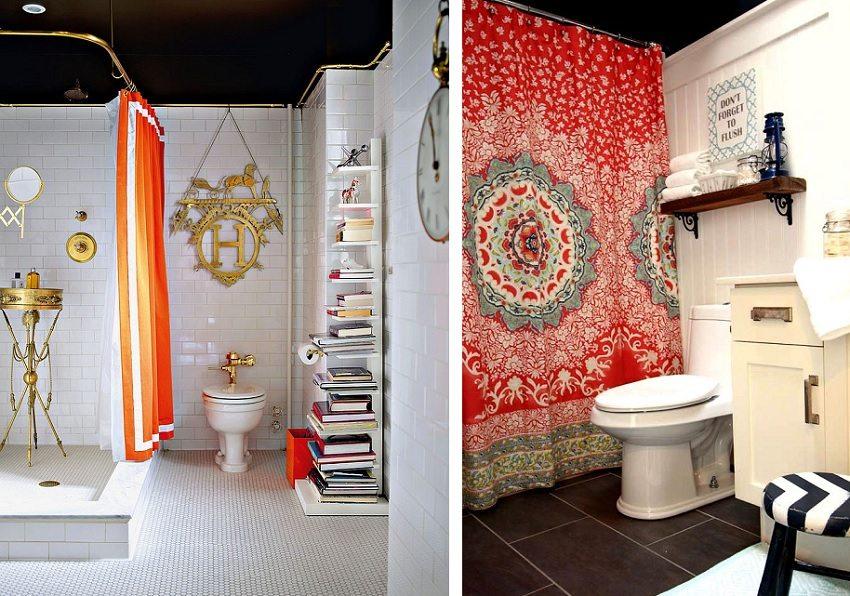 Яркие шторки для душа украсят ванную и добавят цветовых акцентов