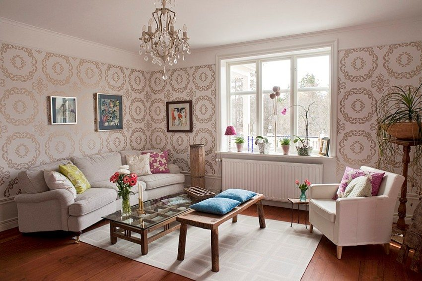 Элементы стиля прованс в интерьере городской гостиной