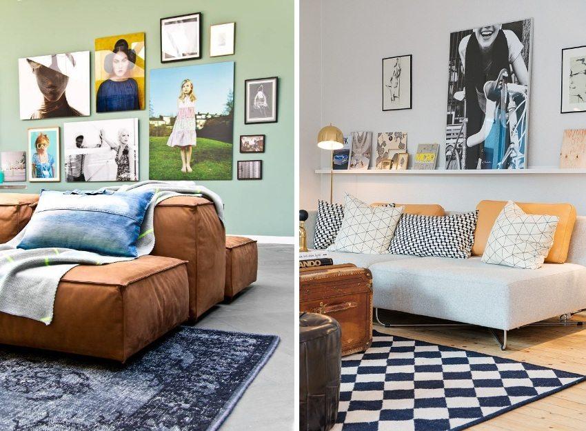 В качестве декора стен успешно можно использовать рисунки и фотографии