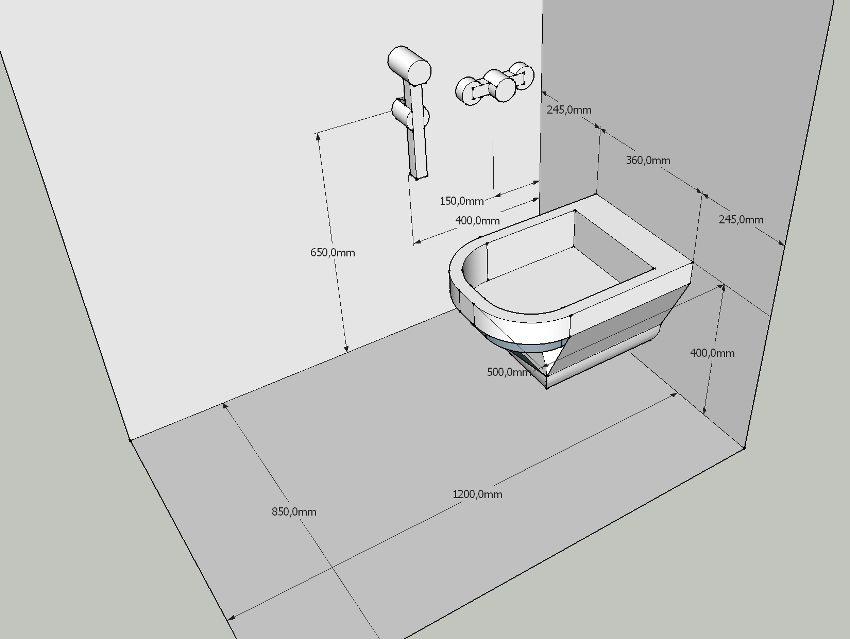 Оптимальные размеры для установки смесителя с гигиеническим душем относительно унитаза