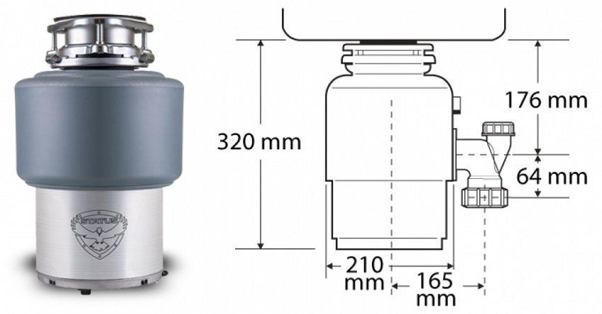 Габаритные размеры измельчителя пищевых отходов STATUS PREMIUM 150