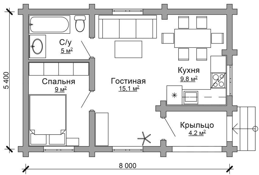 Проект одноэтажного дома 5,4 х 8 м со встроенным крыльцом