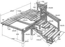 Подробная схема с размерами для возведения деревянной лестницы