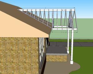 Проект обустройства козырька, встроенного в крышу дома
