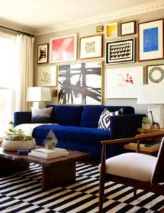 Использование контрастных цветов в интерьере зала
