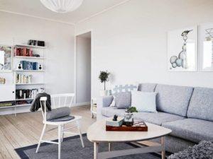 Дизайн гостиной, выдержанный в серых тонах
