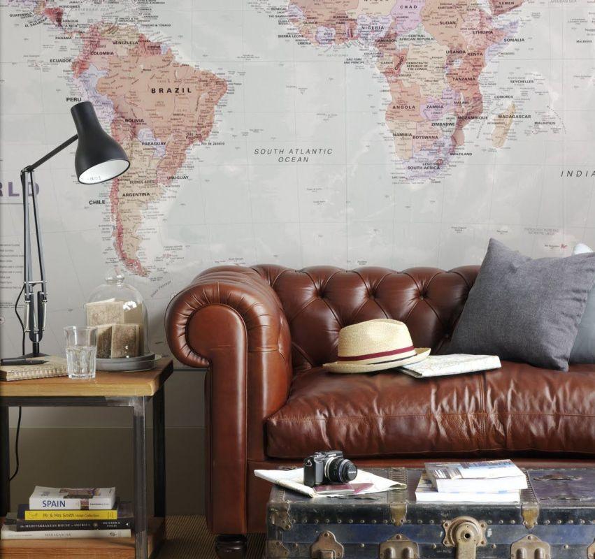 Оригинальные фотообои с изображением карты мира