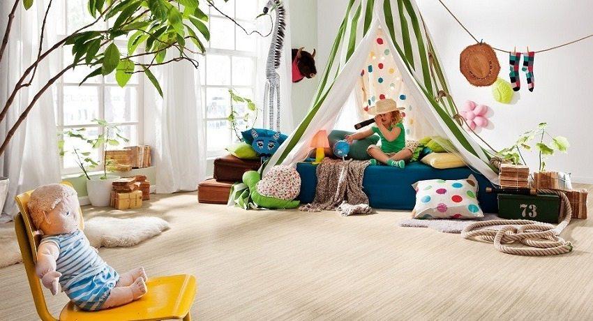 Для детской комнаты лучше всего подходят напольные покрытия из натуральных материалов