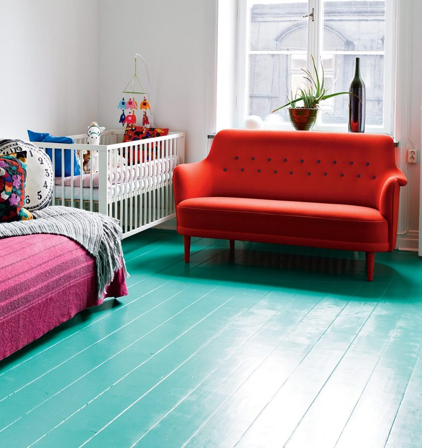 Painted wooden boards - a classic floor arrangement solution