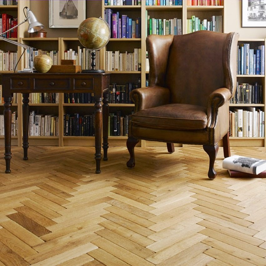 "The wooden parquet is laid in the classical way ""fir-tree"""
