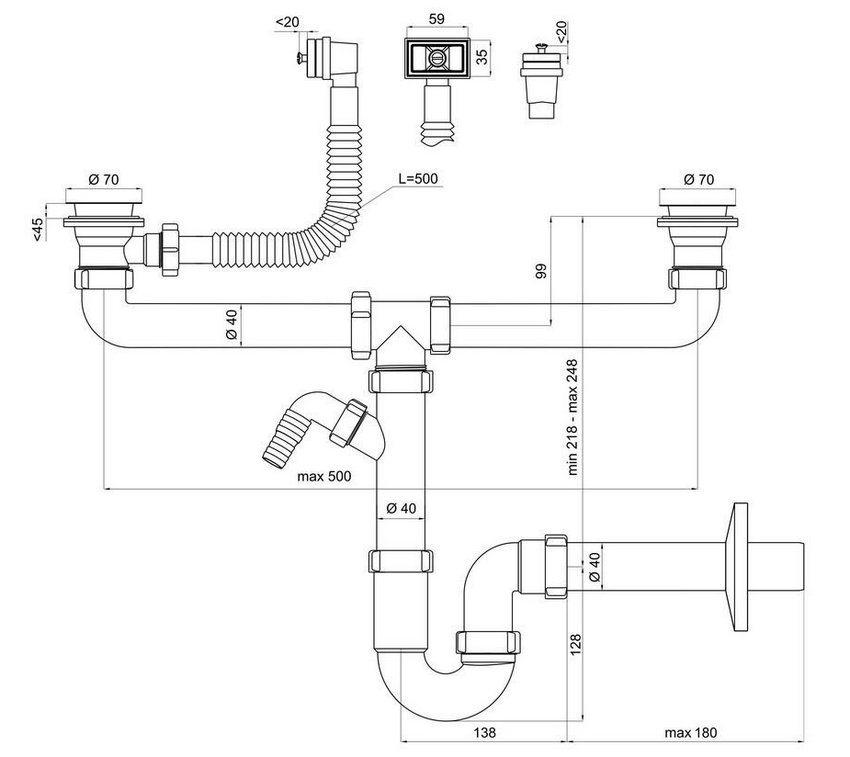 Сифон для двойной раковины на кухне