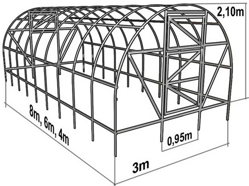 Схема теплицы арочной конструкции