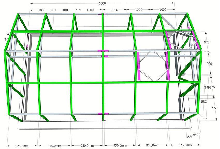 Размеры конструкции теплицы с двускатной крышей